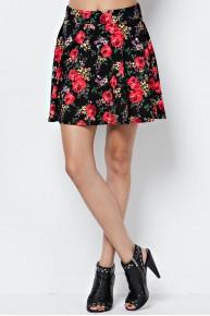 Floral Print Skater Skirt in Black/Red