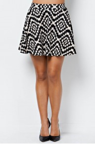 Tribal Print Skater Skirt in Black/Natural