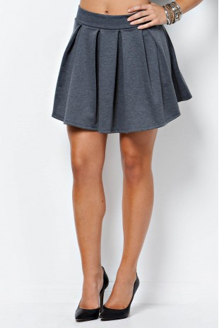 Solid Pleated Skirt in Charcoal