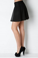 Crochet Lace Skater Skirt in Black