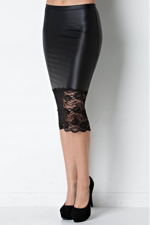 Faux Leather & Lace Pencil Skirt in Black