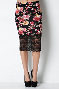 Rose Print & Lace Pencil Skirt in Black/Red