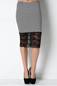 Stripe Knit & Lace Pencil Skirt in Black/Ivory