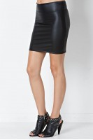 Faux Leather Mini Skirt in Black