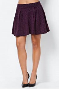 Texture Knit Skater Skirt in Berry