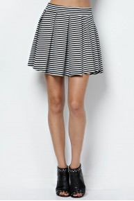 Stripe Knit Pleater Skater Skirt in Black/White
